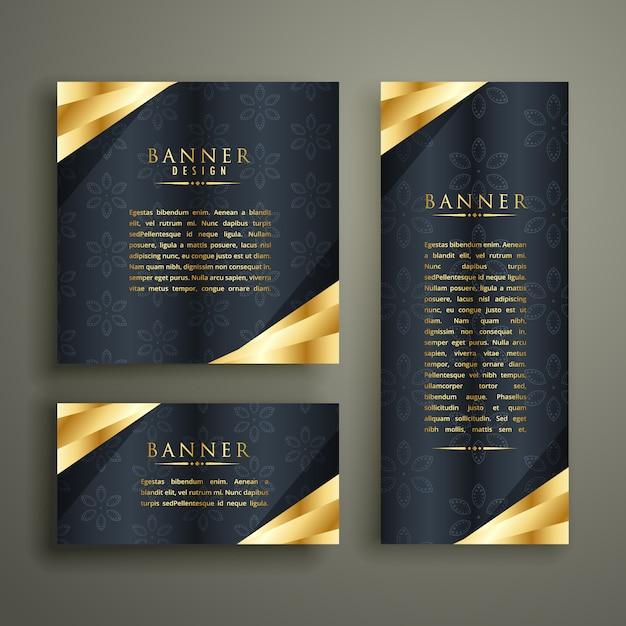 Conjunto de design dourado banner de luxo Vetor grátis