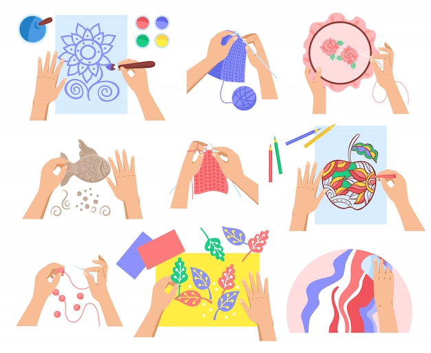 Conjunto de design plano artesanal com vários hobbies criativos isolados na ilustração de fundo branco Vetor grátis