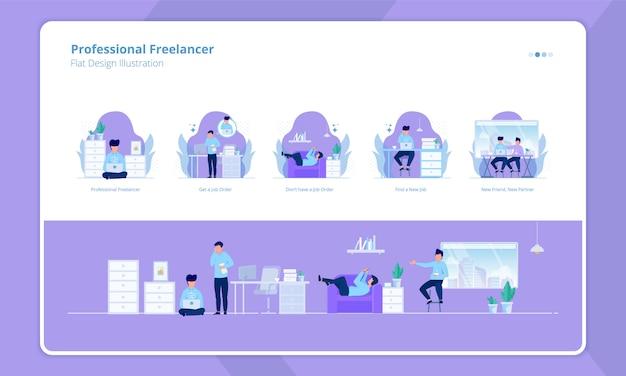 Conjunto de design plano com tema de freelancer profissional Vetor Premium