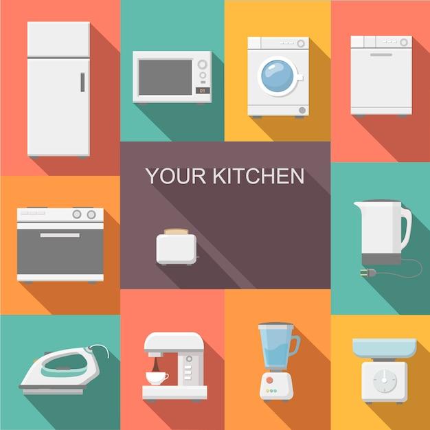 Conjunto de design plano de aparelhos de cozinha Vetor Premium