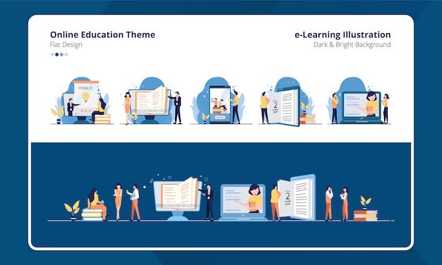 Conjunto de design plano de coleção com tema de aprendizagem on-line ou educação Vetor Premium