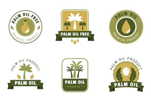 Conjunto de design plano de emblemas de óleo de palma Vetor grátis