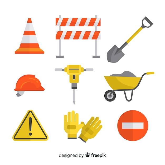 Conjunto de design plano de ferramentas de construção Vetor grátis