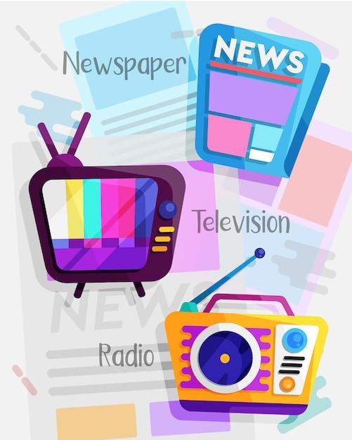 Conjunto de design plano de mídia de massa Vetor Premium