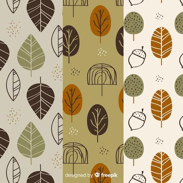 Conjunto de design plano de padrões de outono Vetor grátis