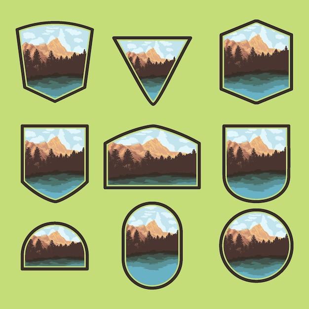 Conjunto de designs de crachás da natureza ao ar livre com lago e floresta Vetor Premium
