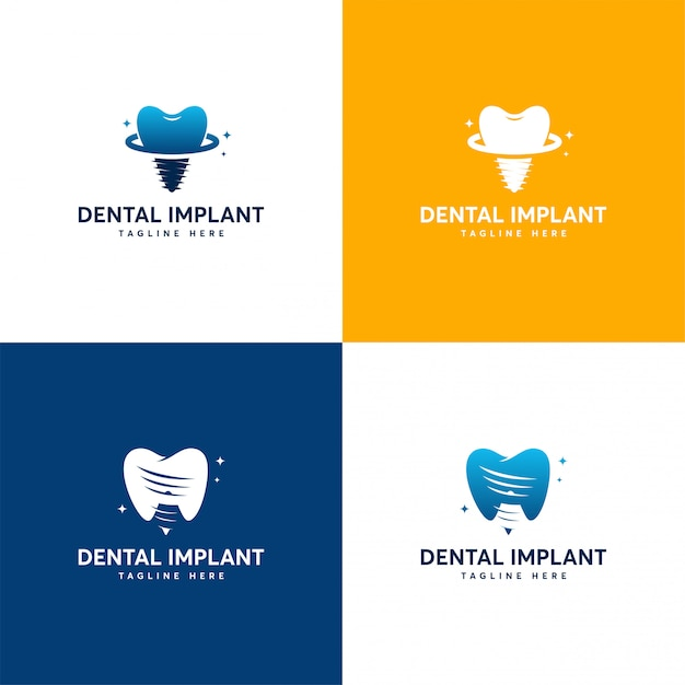 Conjunto de designs de logotipo de implante dentário, modelo de logotipo de atendimento odontológico Vetor Premium