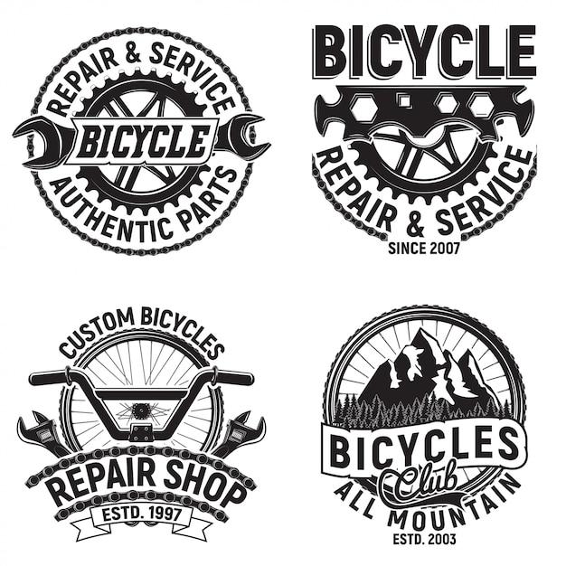 Conjunto de designs de logotipo do clube de bicicletas vintage, selos de impressão de grange de motociclistas, emblemas de tipografia criativa de oficina de bicicletas, Vetor Premium