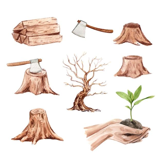 Conjunto de desmatamento em aquarela, ilustração desenhados à mão Vetor grátis