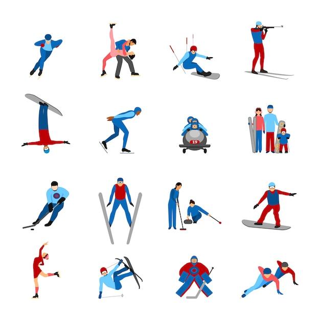 Conjunto de desportistas de inverno Vetor grátis