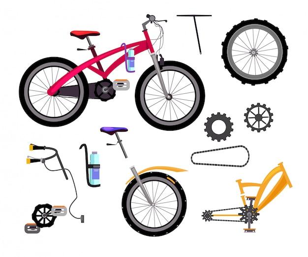 Conjunto de detalhes de bicicleta Vetor grátis