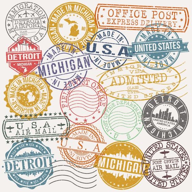 Conjunto de detroit michigan de viagens e negócios stamp desenhos Vetor Premium