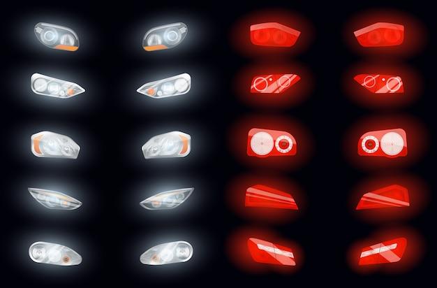 Conjunto de dez faróis auto realistas e dez luzes brilhantes de freio isolaram imagens na ilustração de fundo escuro Vetor grátis