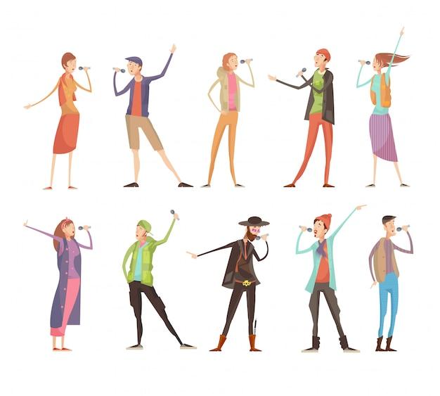 Conjunto de dez pessoas isoladas plana personagens na festa de grupo de karaoke com microfones e custo colorido Vetor grátis