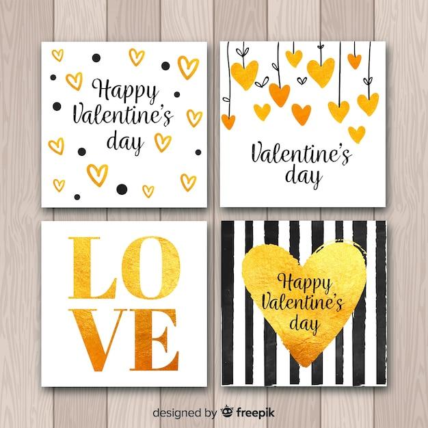 Conjunto de dia dos namorados cartão de detalhes dourados Vetor grátis