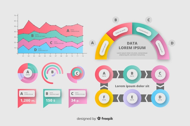 Conjunto de diagramas de infográfico de marketing Vetor grátis