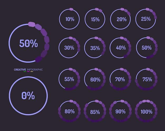 Conjunto de diagramas de porcentagem de círculo de 0 a 100. Vetor Premium