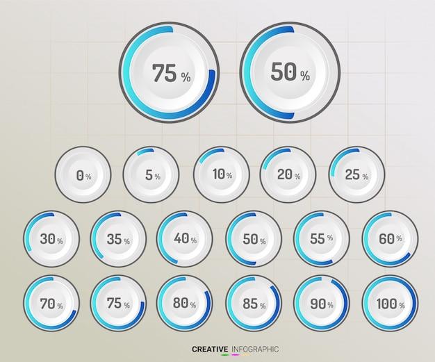 Conjunto de diagramas de porcentagem de círculo Vetor Premium