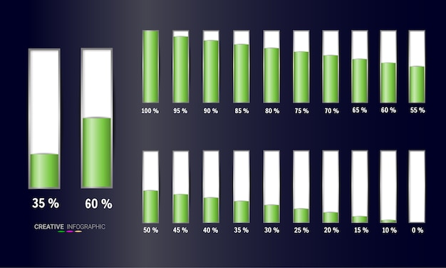 Conjunto de diagramas de porcentagem Vetor Premium