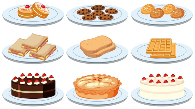 Conjunto de diferentes alimentos Vetor grátis