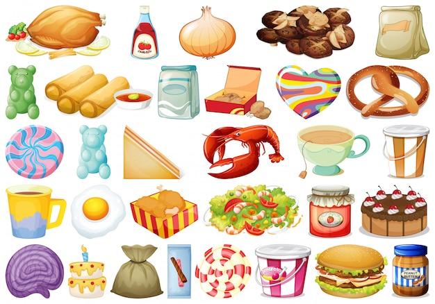 Conjunto de diferentes alimentos Vetor Premium