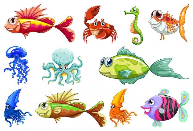 Conjunto de diferentes animais dos desenhos animados estilo Vetor grátis