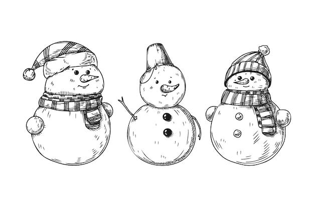 Conjunto de diferentes bonecos de neve, isolado no fundo branco. esboço, ilustração desenhada à mão Vetor Premium
