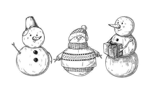 Conjunto de diferentes bonecos de neve isolados. esboço, ilustração desenhada à mão Vetor Premium