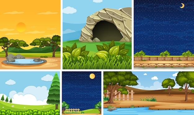 Conjunto de diferentes cenários naturais em cenas verticais e horizontais durante o dia e a noite Vetor Premium