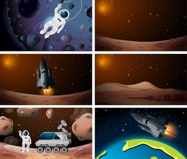 Conjunto de diferentes cenas de espaço exterior Vetor grátis