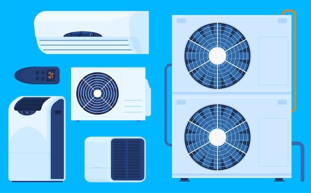 Conjunto de diferentes condicionadores de ar ilustrado Vetor Premium