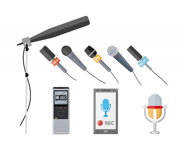 Conjunto de diferentes dispositivos de gravação modernos. Vetor Premium