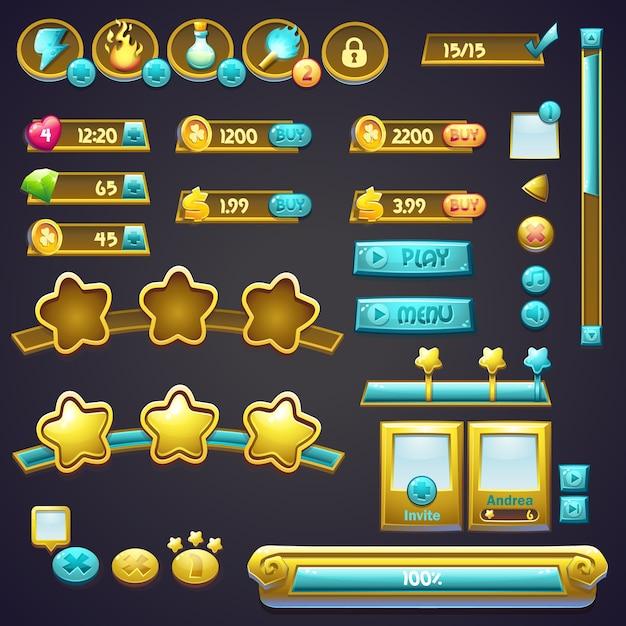Conjunto de diferentes elementos em um estilo de desenho animado, barras de progresso, botões de reforço e outros elementos Vetor Premium