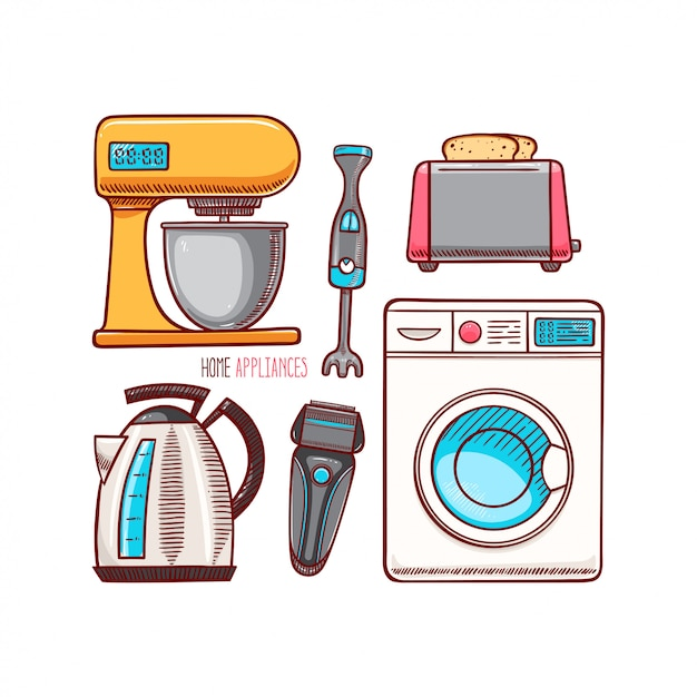 Conjunto de diferentes eletrodomésticos. Vetor Premium