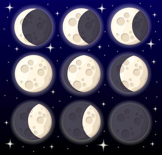 Conjunto de diferentes fases da lua, objeto do espaço, satélite natural da ilustração da terra na página do site da web do estilo de fundo e no aplicativo móvel Vetor Premium