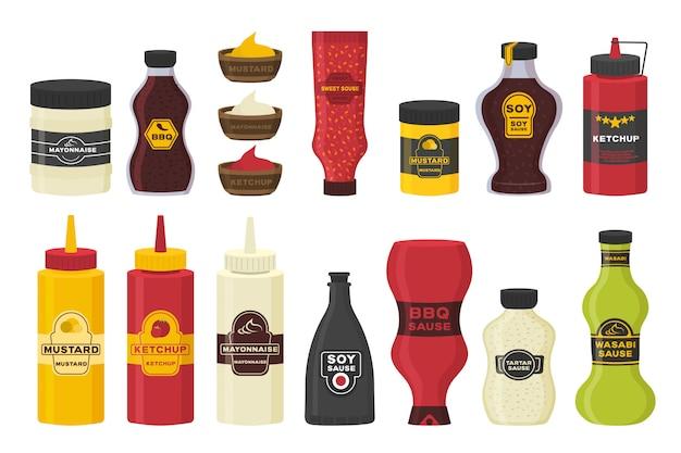 Conjunto de diferentes garrafas com molhos - ketchup, mostarda, soja, wasabi, maionese, churrasco em design plano. molho de garrafa e tigela de coleção para cozinhar isolado no fundo branco. ilustração. Vetor Premium