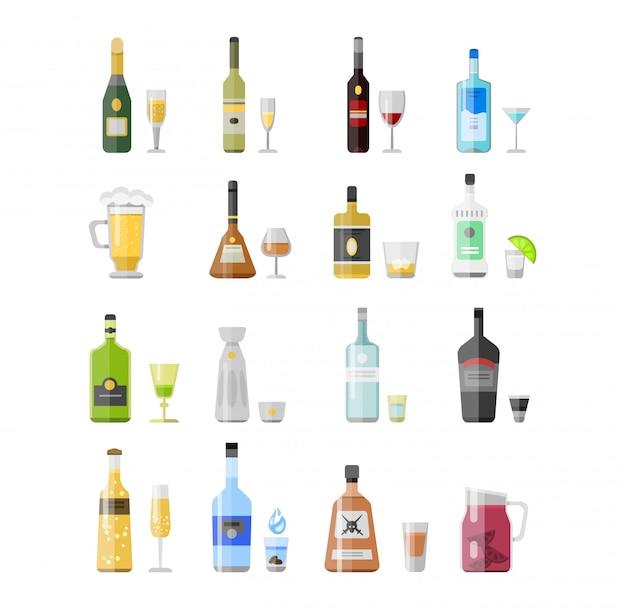 Conjunto de diferentes garrafas de bebida de álcool Vetor Premium