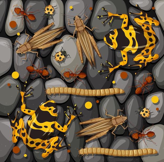 Conjunto de diferentes insetos isolados na textura de pedras Vetor grátis