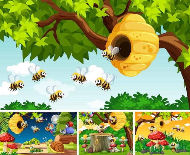 Conjunto de diferentes insetos vivendo no fundo do jardim Vetor Premium