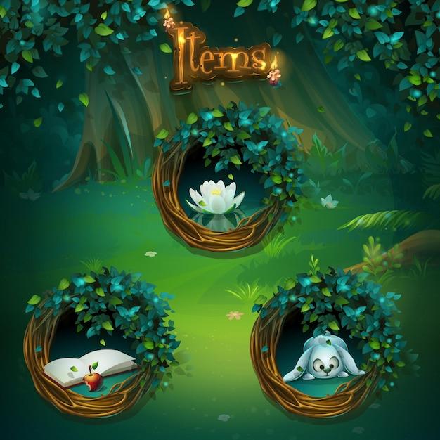 Conjunto de diferentes itens para interface de usuário do jogo. tela de ilustração de fundo para o jogo de computador shadowy forest gui. Vetor Premium
