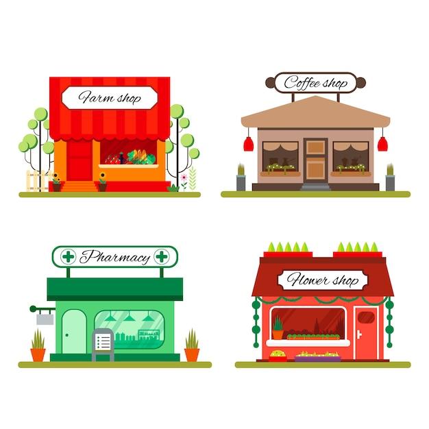 Conjunto de diferentes lojas em estilo simples: produtos agrícolas, café e loja de flores - estoque de ilustração. elementos de infográfico ícone de mercado com vitrines isolado no fundo branco. Vetor Premium