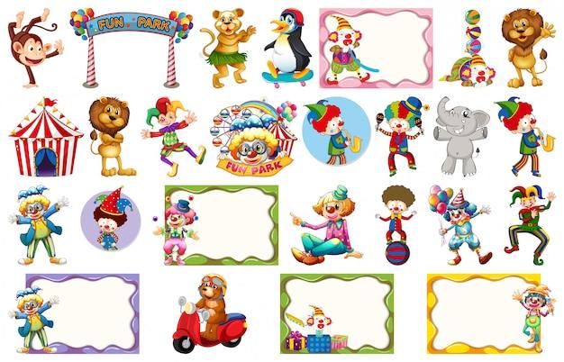 Conjunto de diferentes objetos de circo, animais e quadros Vetor Premium