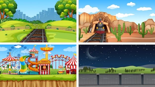 Conjunto de diferentes paisagens de fundo Vetor grátis