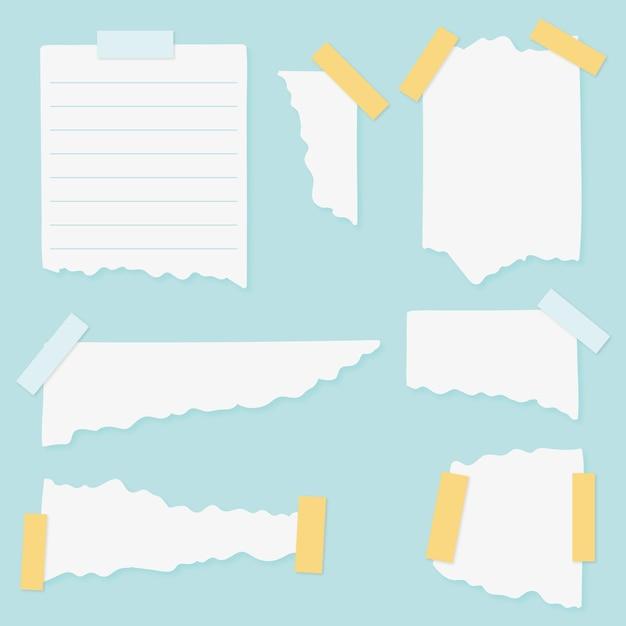Conjunto de diferentes papéis rasgados com fita adesiva Vetor grátis