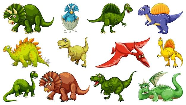 Conjunto de diferentes personagens de desenho animado de dinossauro isolado no fundo branco Vetor grátis
