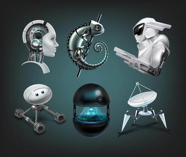 Conjunto de diferentes robôs assistentes fictícios Vetor Premium