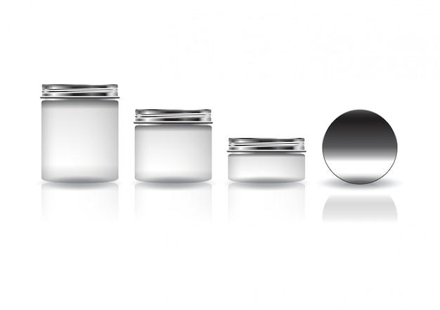Conjunto de diferentes tamanhos branco frasco redondo cosmético com tampa de prata para beleza ou produto saudável. Vetor Premium