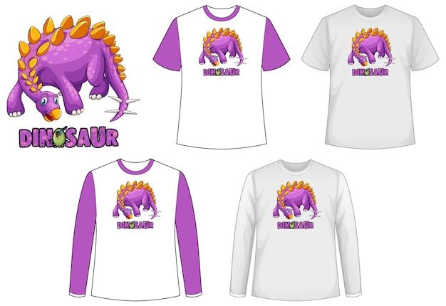 Conjunto de diferentes tipos de camisa com tema de dinossauro e logotipo de dinossauro Vetor grátis