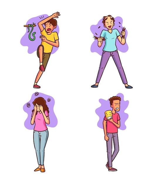 Conjunto de diferentes transtornos mentais desenhados à mão Vetor grátis