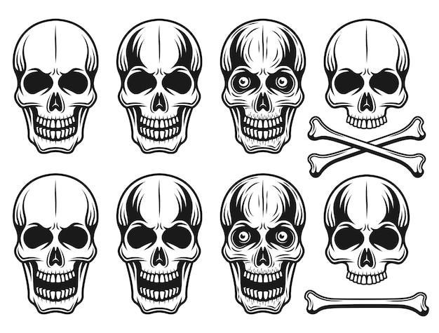 Conjunto de diferentes variantes de ilustração de crânios em estilo vintage monocromático Vetor Premium